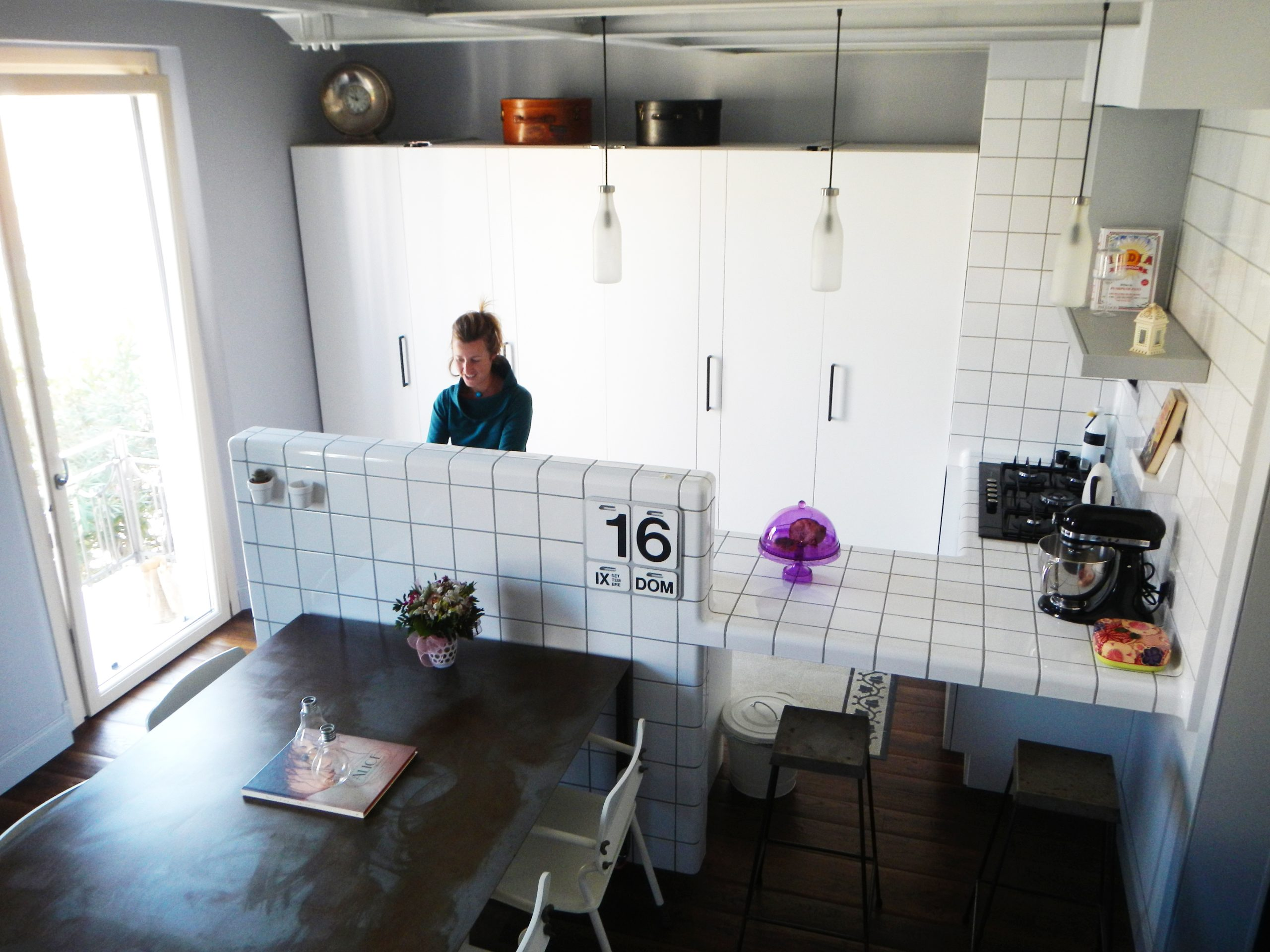 small kitchen with threedimensional tiles