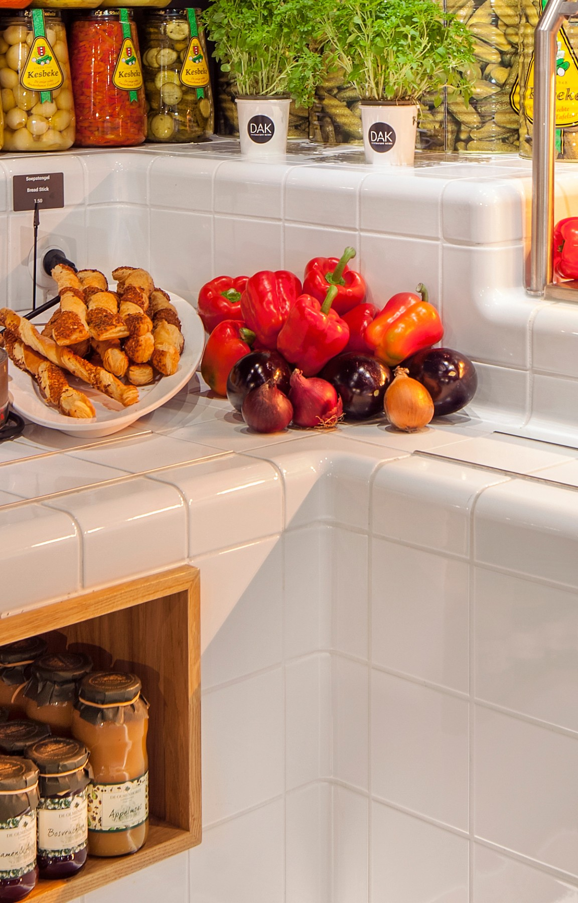 three-dimensional tiled buffet, functional and construction modern rounded tiles available in multiple colors
