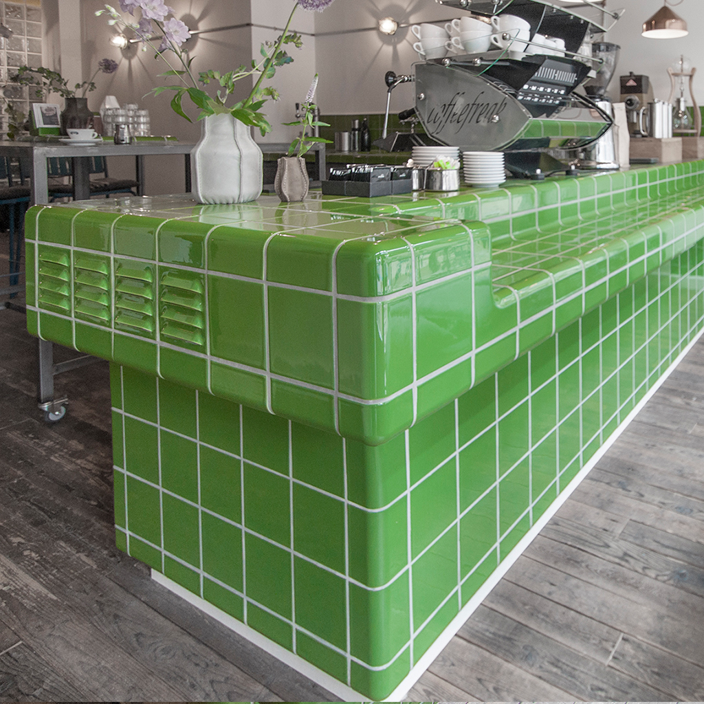 coffee bar with rounded  threedimensional tiles