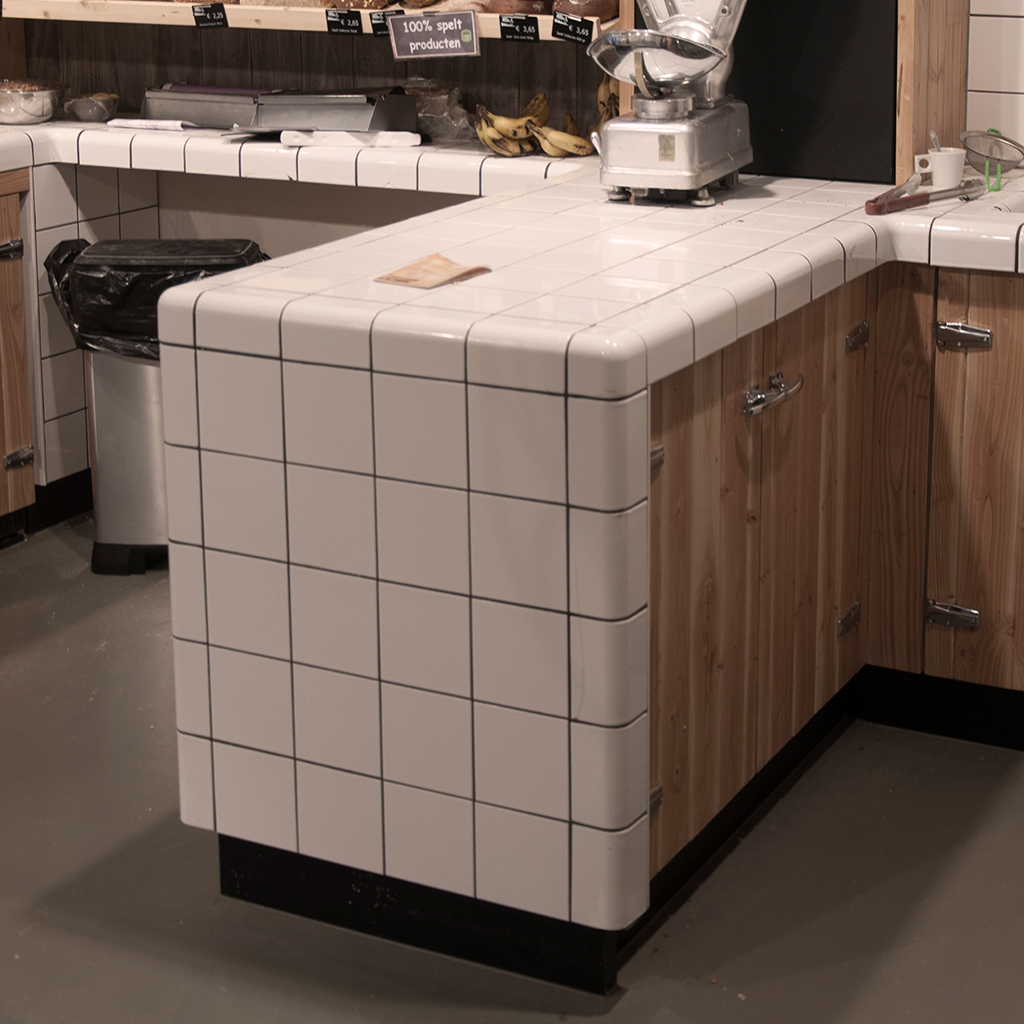 working table bakery with rounded tiles, threedimensional corners