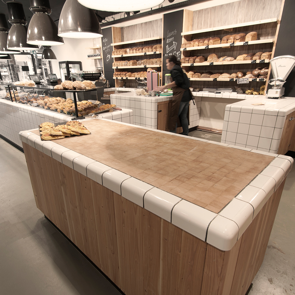 working table bakery with threedimensional corners