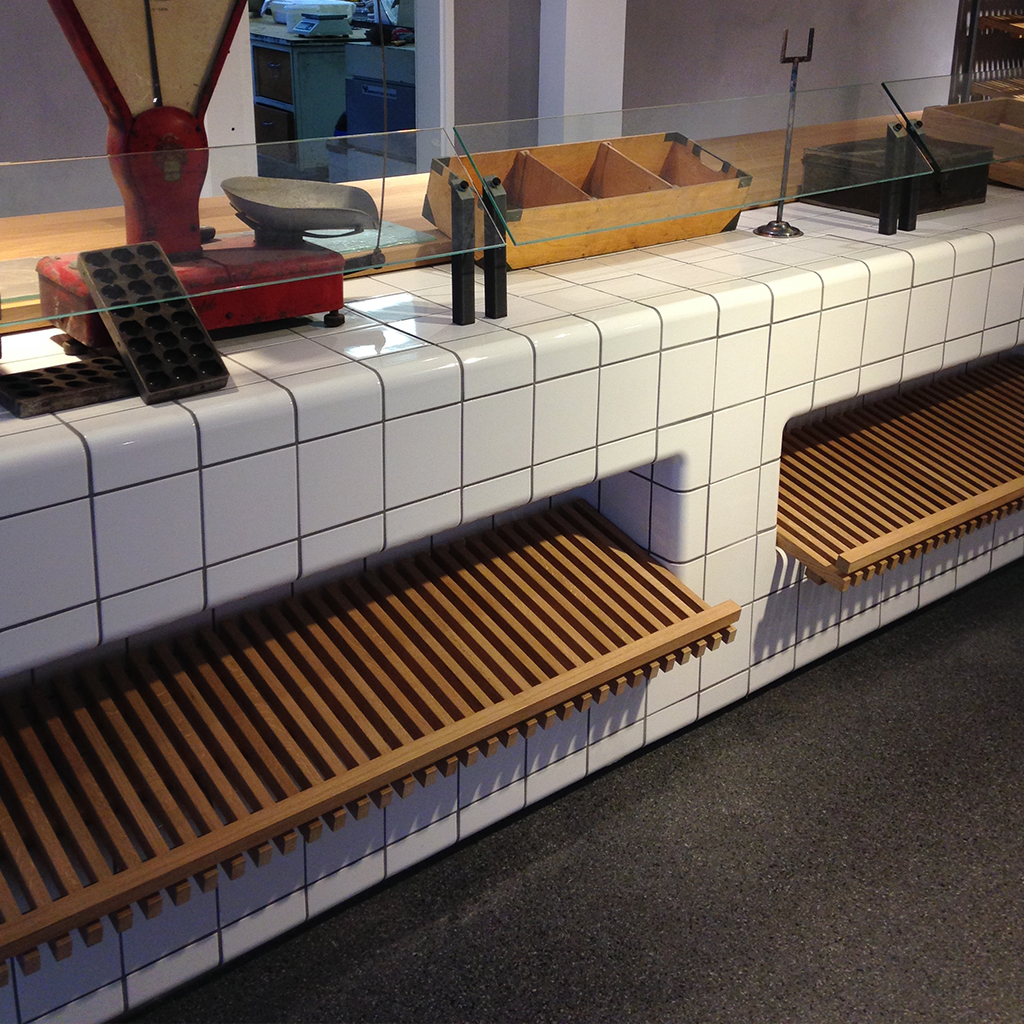 counter bakery with  threedimensional tiles
