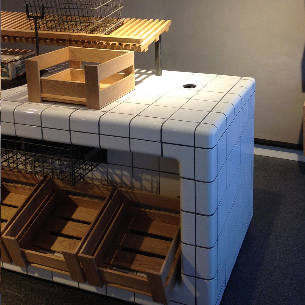counter bakery with 3d tiles, threedimensional corners