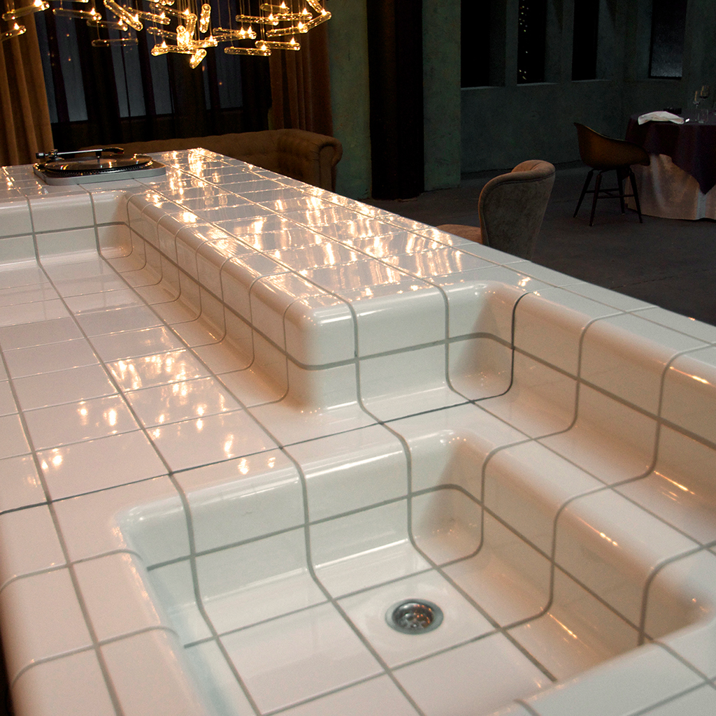 modern brasserie tiled with threedimensional tiles