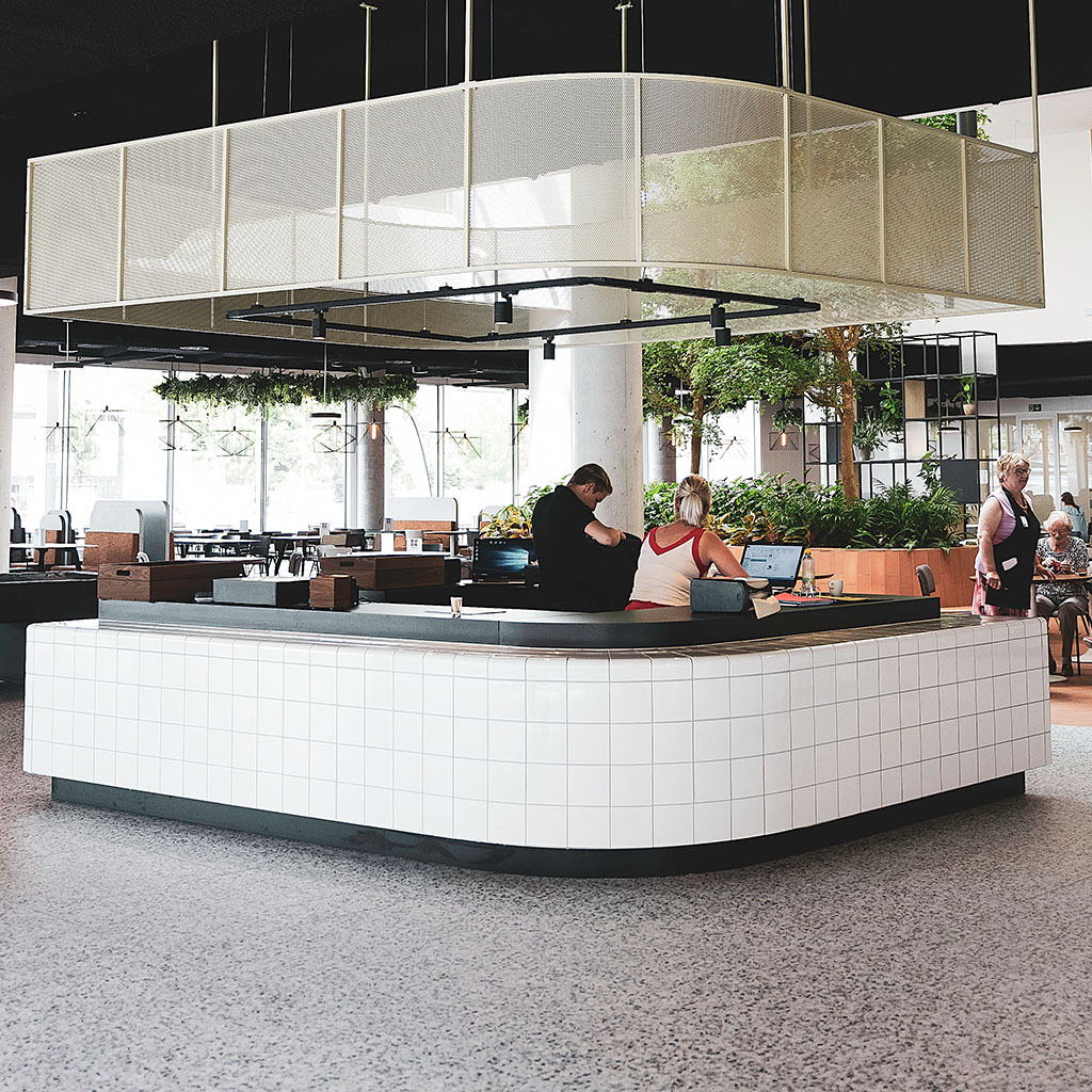 design restaurant / bar with rounded 3d tiles