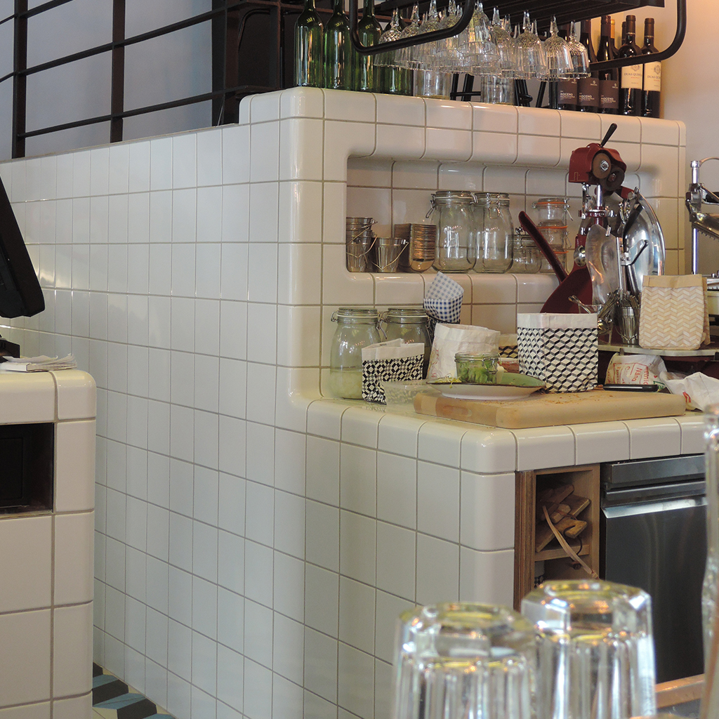 design cafe / bar with rounded 3d tiles