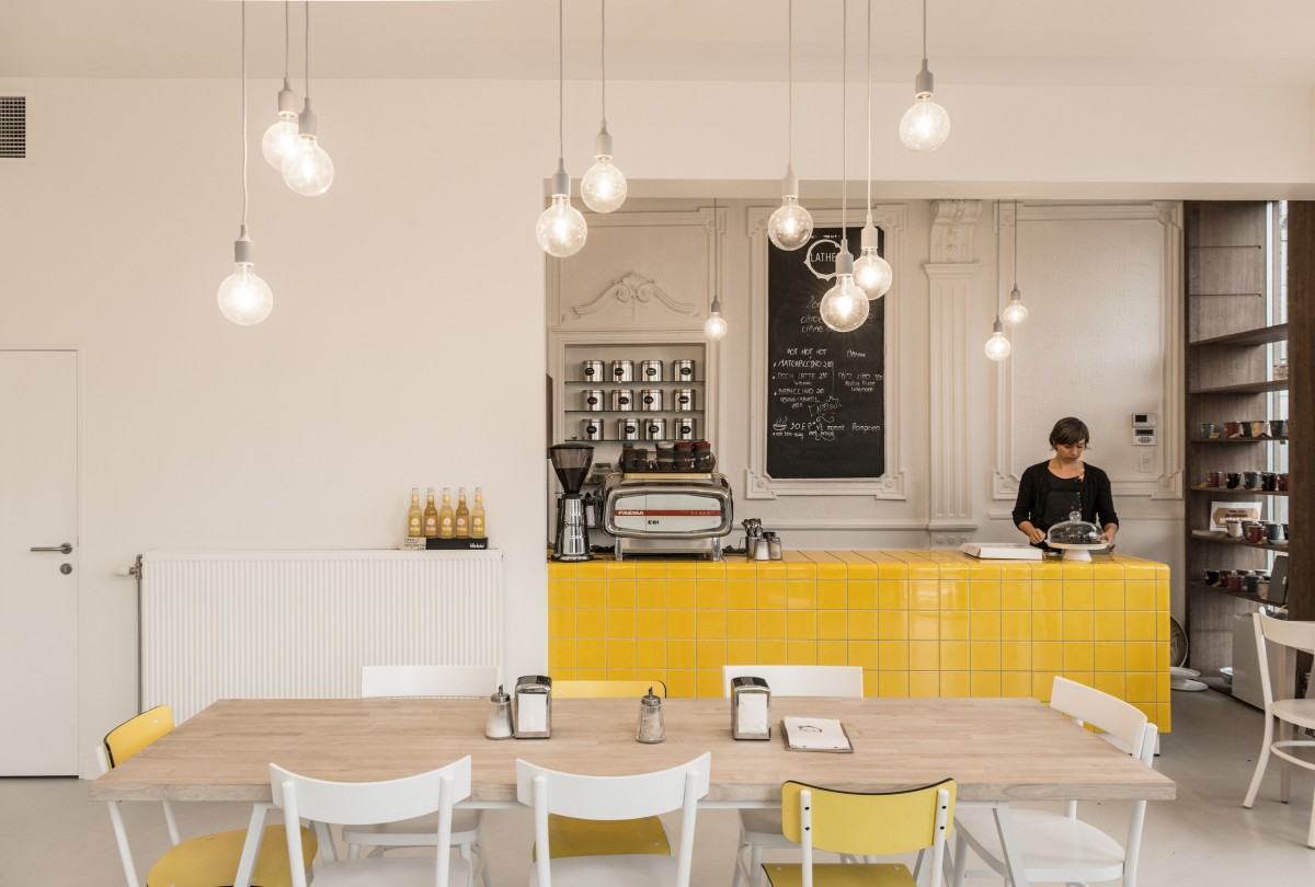 cafe with yellow rounded 3d tiles