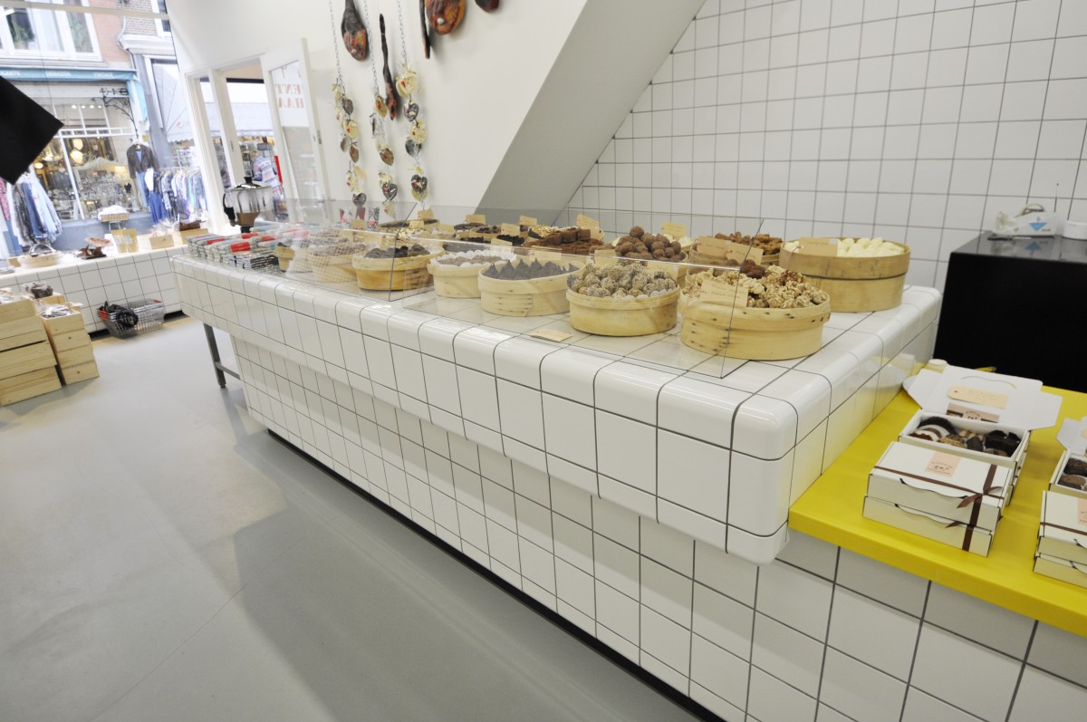 counter chocolate shop with rounded tiles