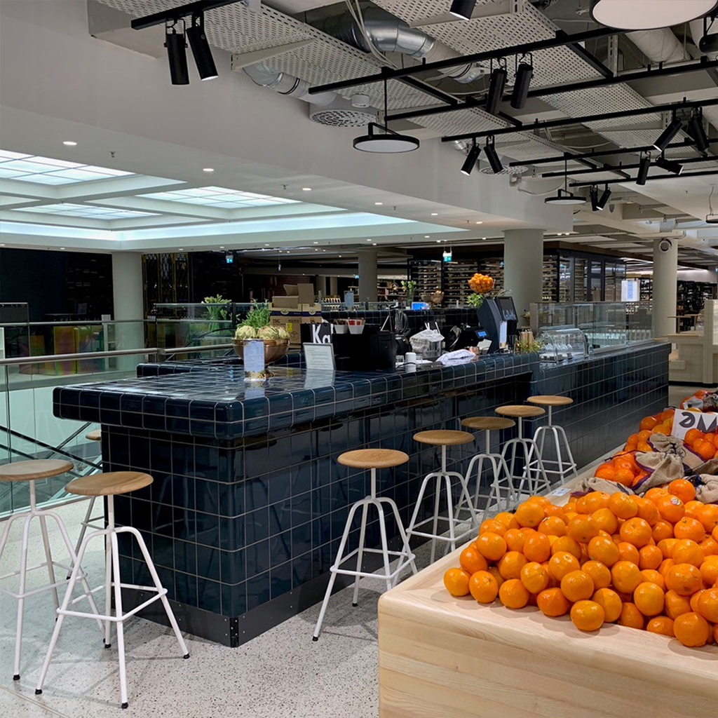 modern bar / cafe  / restaurant with threedimension tiles and integrated seats