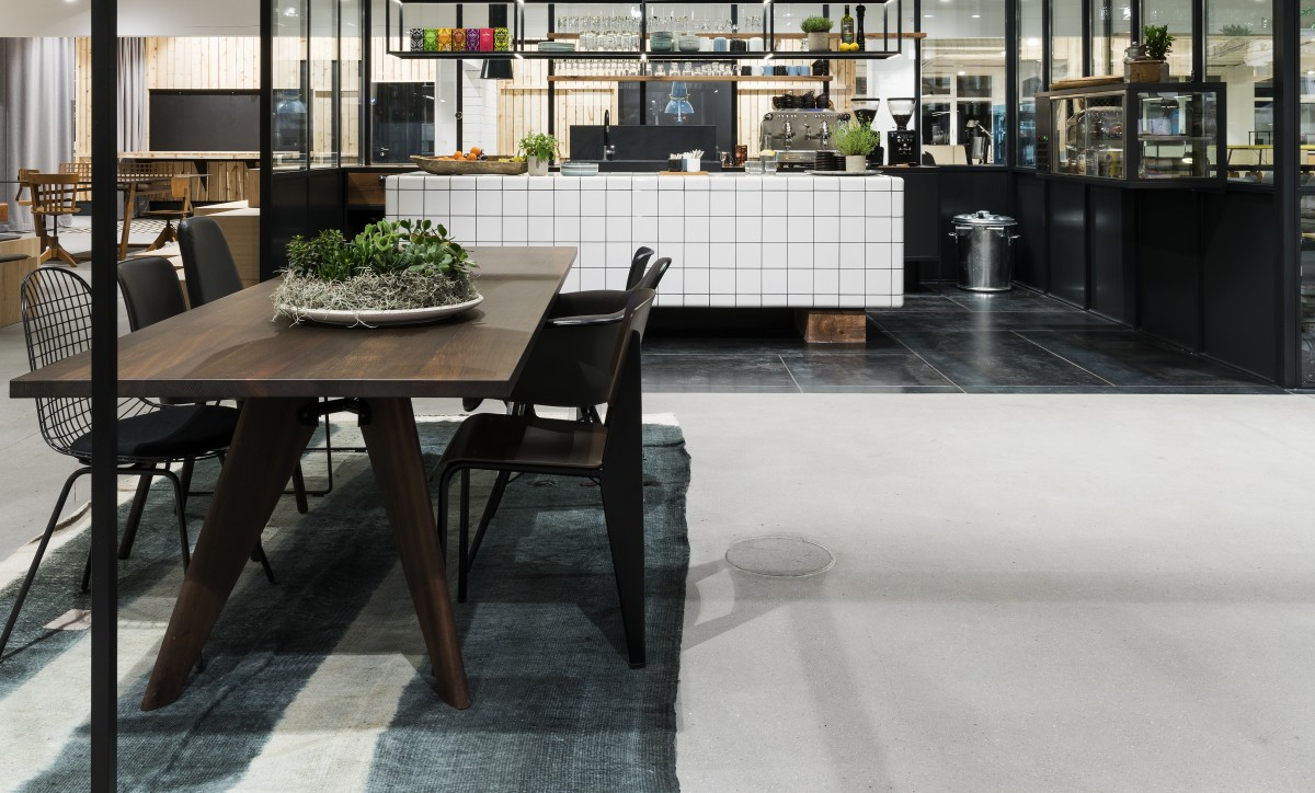 modern cafe tiled with rounded tiles