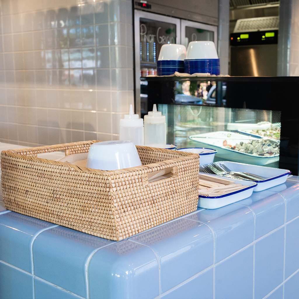 design bar / fish & chips, tiled with rounded tiles, australia