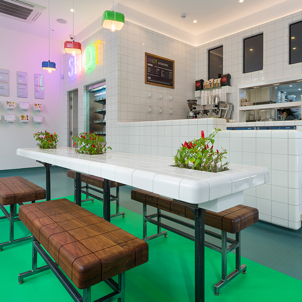 cafe with rounded 3d tiles
