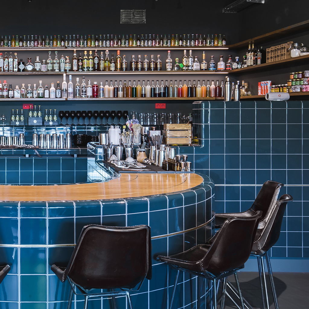 bar with 3d design tiles with integrated functions, berlin