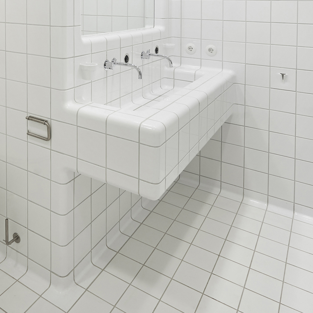 3d design tiles in bathroom with integrated functions as sink, drain or ventilation