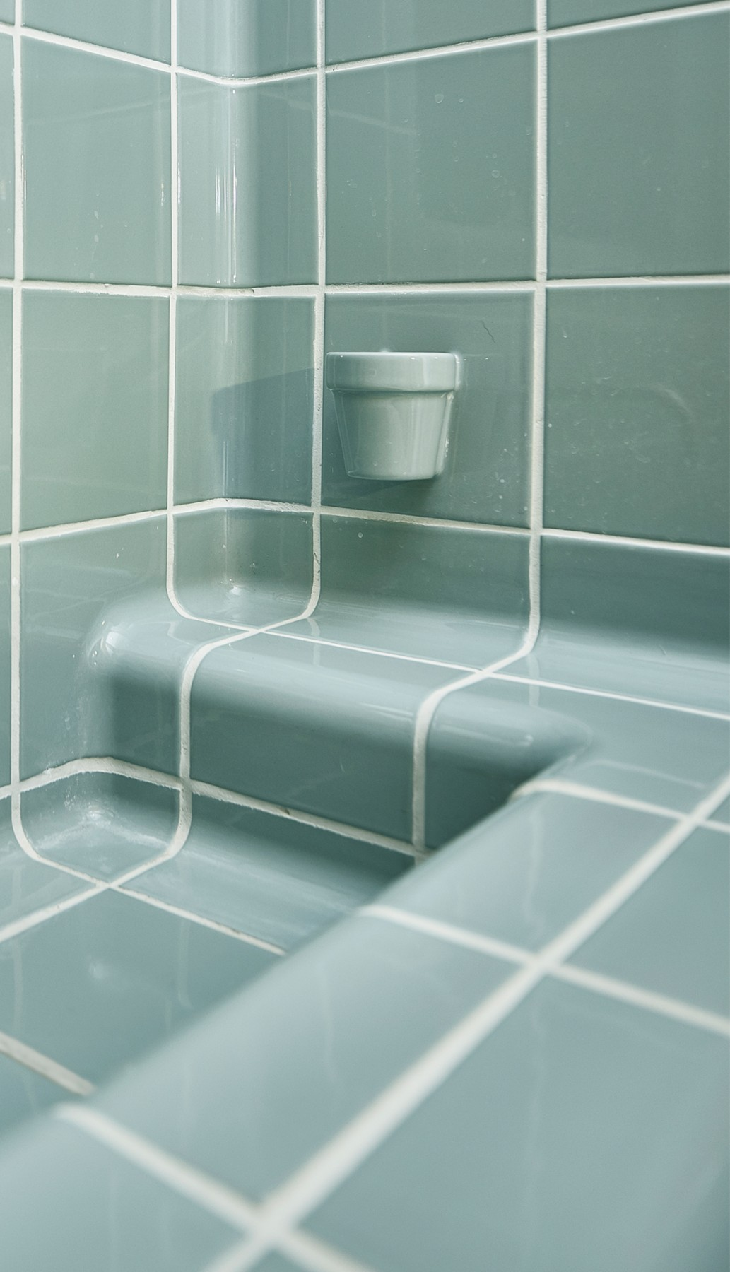 cup tile and sink in bathroom, modern design functional tiles available in 20 colors