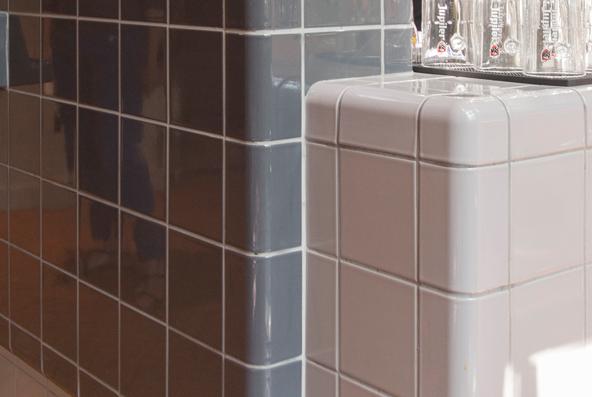 3d tiled rounded corners, modern design with construction and functional tiles in multiple colors
