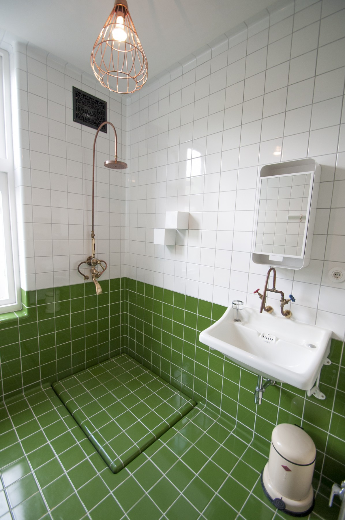 green white bathroom tiles with integrated functions