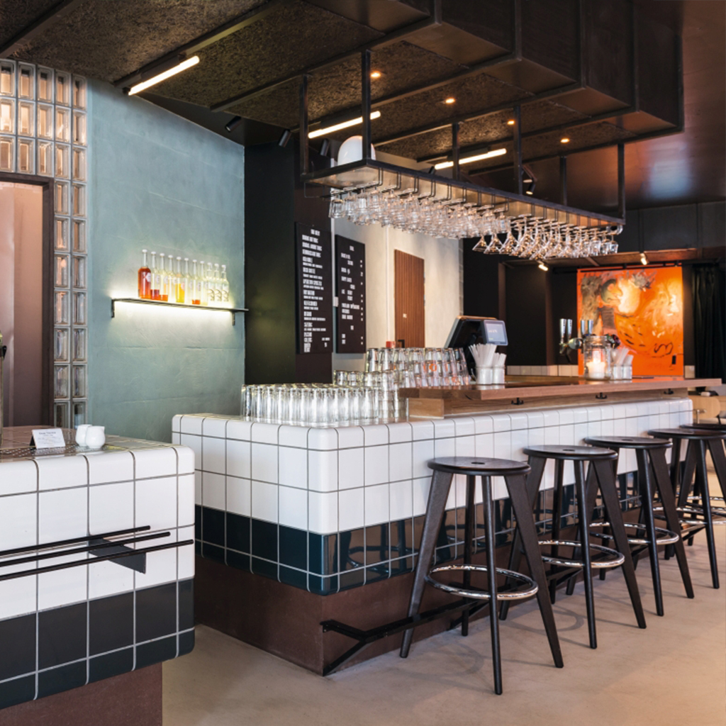 modern bar tiled with rounded tiles