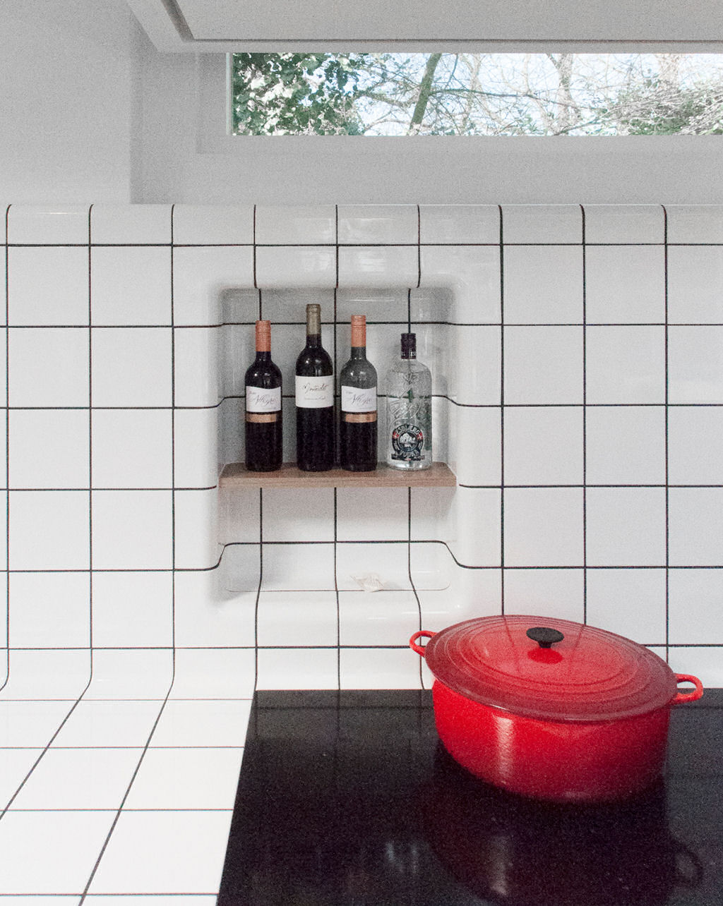 rounded tiles in niche, modern 3d functional and construction tiles available in multiple colors