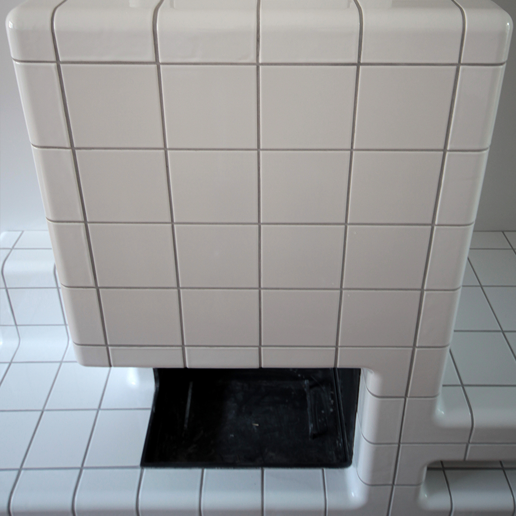 tiled fireplace with rounded 3d tiles