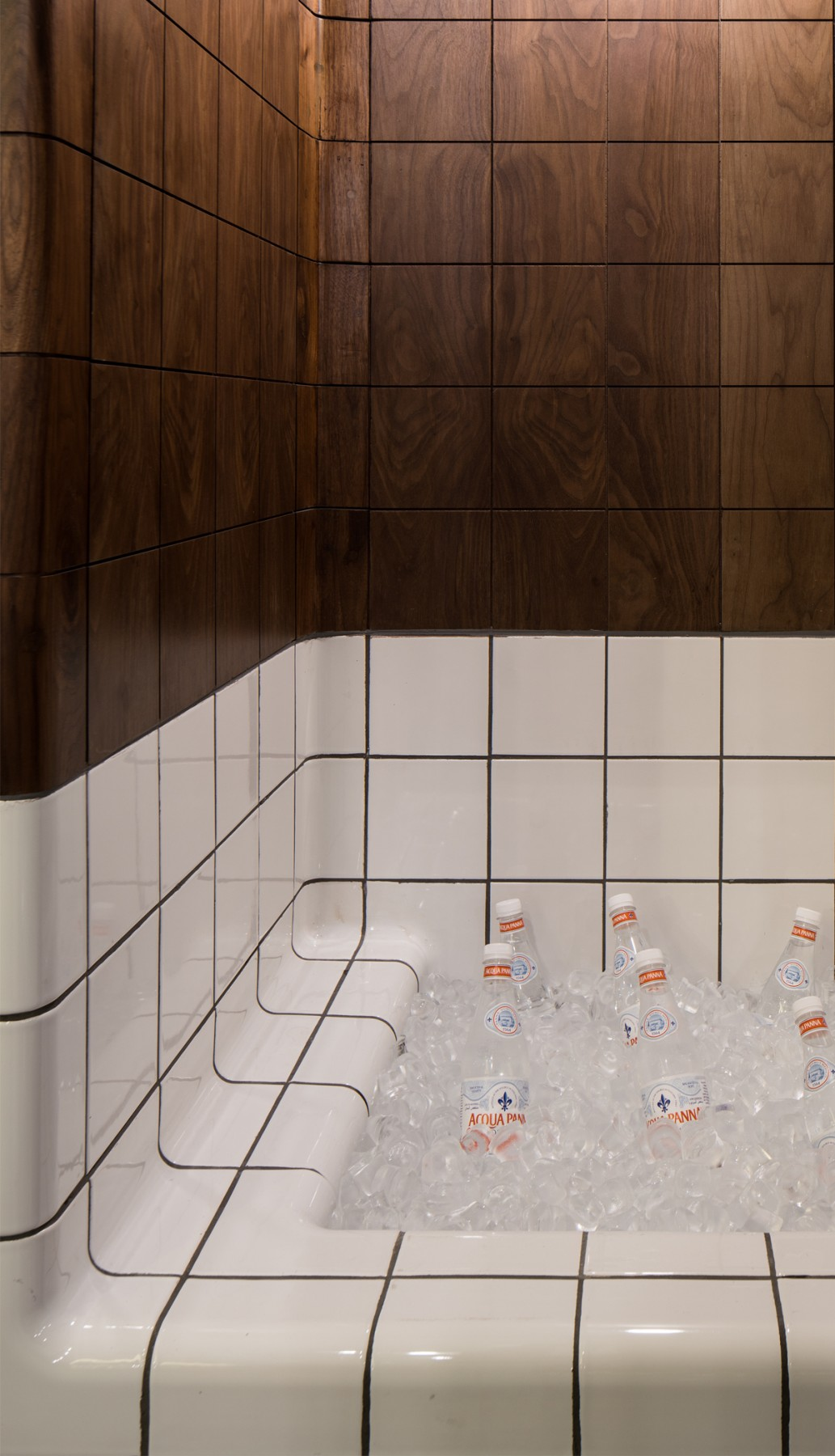 tiled ice bucket in kitchen, modern design functional tiles available in 20 colors