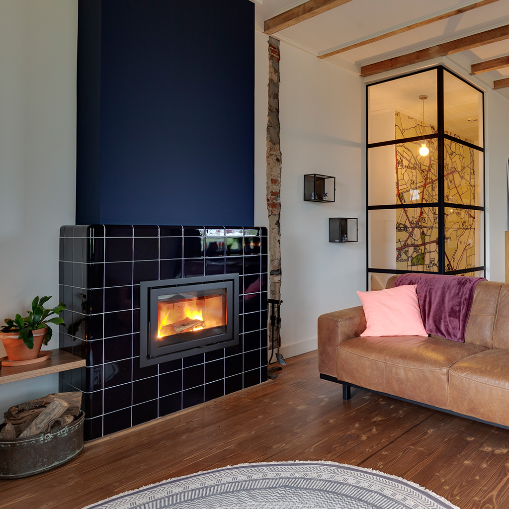 Tiled fireplace with rounded tiles